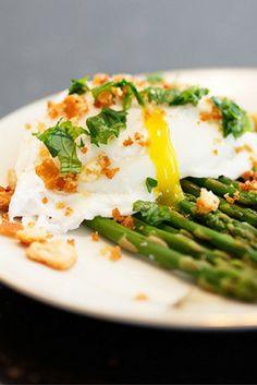 Poached Eggs over Roasted Asparagus #SundaySupper
