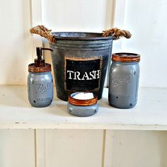 Mason Jar Bathroom Set. 4 Piece.Rustic.Grey. Galvinized Waste Basket. Rustic Bathroom Decor. Bathroom Accessories. Mason Soap Pump by Kksmercantile on Etsy