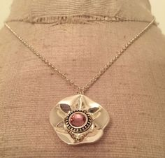 """Silvertone Necklace with Pink Stone Pendant 18"""" Chain #Unbranded #Pendant"""