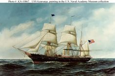 USS Kearsarge, a Mohican-class sloop-of-war, is best known for her defeat of the Confederate commerce raider CSS Alabama off the coast of France, June 1864 in what became known as The Battle of Cherbourg. American Civil War, American History, Sloop Of War, Uss Kearsarge, Propaganda Art, Nautical Art, Armada, Model Ships, Civilization