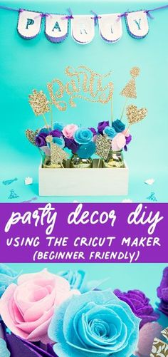Cricut Maker for Beginners – Easy Party Decor This decor would be the perfect addition to any party. This easy DIY cricut pattern is great. This no sew beginner friendly project is perfect for anyone. #cricutmaker #crafting #diyproject #nosewproject Vinyl Crafts, Fun Crafts, Fun Projects, Sewing Projects, Gold Mason Jars, Fine Point Pens, Easy Sewing Patterns, Quilting For Beginners, Vintage Crafts