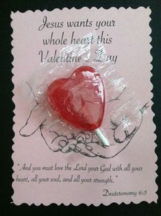 Pinner says - I made these to give out to my Sunday School class for Valentines. They took my less than an hour to make up 30 of them. Just cut a slit in the card stock and taped the lollipop stick to the back. Saint Valentine, Kinder Valentines, Valentine Day Crafts, Kids Church, Church Ideas, Children's Church Crafts, Christian Crafts, Sunday School Crafts, Bible Crafts