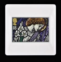 """Christmas Brooch """"Stained Glass Window of Angel Gabriel, St James, Pangbourne"""" 1992 Royal Mail Vintage Postage Stamp Brooch/ Badge/Pin Stained Glass Windows, Image Shows, Postage Stamps, Gabriel, Brooches, Festive, Angel, Jewellery, Unique"""