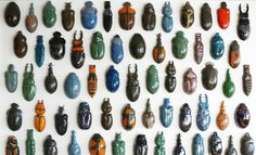 R.a.R glazed porcelain beetles