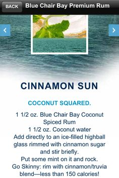 Yummy drink made with Kenny Chesney's Blue Chair Bay Coconut Spiced Rum!!!