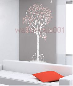 Nersury  wall decal wall sticker tree decal murals wall art-lovely tree with birds. $65.00, via Etsy.