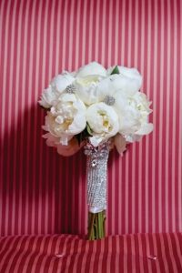 White peony bouquet with Swarovski crystal jeweled handle wrap | Haute Flower Boutique