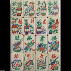 Vtg. 1920s, 16 Flowers, 160 Tiles Bone & Bamboo Mahjong Set, 4 Lacquer Racks  - beautiful set from fracas1