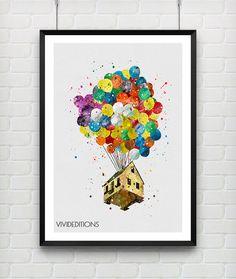 Up Balloon House Watercolor Pixar Disney Print by VIVIDEDITIONS
