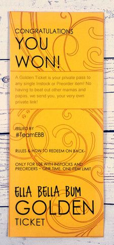 Golden Ticket – Ella Bella Bum YOUR Free stalking pass! Golden Ticket, Giveaways, Free
