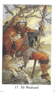 Strength (The Woodward) - Wildwood Tarot by John Matthews, Mark Ryan, Will Worthington Tarot Card Decks, Tarot Cards, Tarot Celta, Wildwood Tarot, Justice Tarot, Tarot Card Meanings, Major Arcana, Oracle Cards, Deck Of Cards