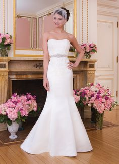 Sweetheart Gowns sweetheart style 6034 Matte satin and corded lace mermaid  features a strapless neckline and c83265947aa1