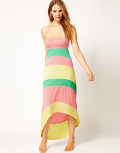 Like sorbet! - River Island Color Block Bandeau Maxi Dress With Hi-Lo Hem