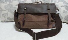 School bag/ Crossbody bag/Brown Canvasleather by Eloneeclothing, $65.00