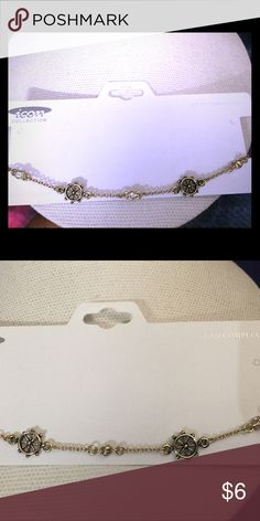 Anklet Gold nautical anklet with cz rhinestones. Accessories