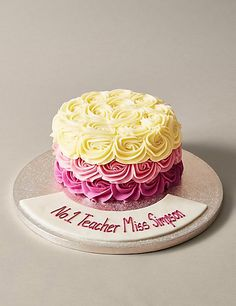 Personalised Shades Of Pink Piped Rose Cake Serves 24