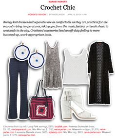 """The NYT likes crochet for spring... you know me, I like it for all times. Recognize that Miu Miu vest? Yeah, it's the one I reverse-engineered. I didn't know 'til now that they've done it as a bag as well (crocheted in raffia, not cashmere). Also FYI NYT, those shoes are macrame and the two Missoni items are knit -- by """"crochet knit"""" they just mean """"this was knit with a fairly open stitch pattern so it looks vaguely crocheted."""""""