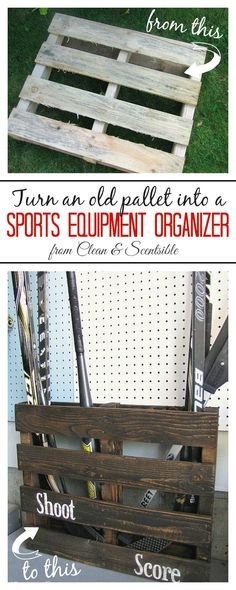 Turn an old pallet into a sports equipment organizer.  Free and easy storage!  // cleanandscentsible.com