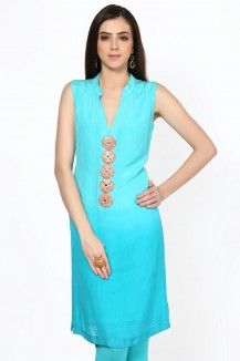 Combination Of Turquoise Blue And Peach With Decorative Buttons  Rs. 4,778