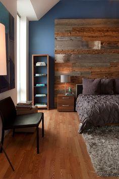 Contemporary Master Bedroom with Hardwood floors, Asher 2-drawer nightstand, Safavieh medley textured shag grey rug (6' x 9')