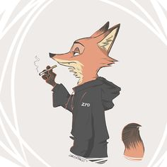 """aronaut: """"""""i have this odd, unhealthy headcanon that nick used to smoke and quit (but not quite) so sometimes he needs a cig when stressed (something judy condemns. she better not catch him or..."""