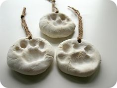 Animal fans will love these paw print ornaments made from homemade clay (Cornflower Blue Studio)