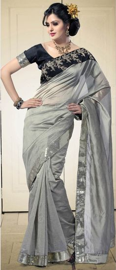 Light #Grey Art Manipuri #Silk #Saree with Blouse @ $141.1