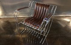 This is the new Runge Armchair, each one is hand built by Christopher Runge Superleicht aluminum tubes which are TIG welded into a framework that forms a Upholstered Arm Chair, Armchair, Christopher Designs, Outdoor Chairs, Outdoor Decor, Aircraft Design, Amazing Spaces, Custom Leather, Mid Century Furniture