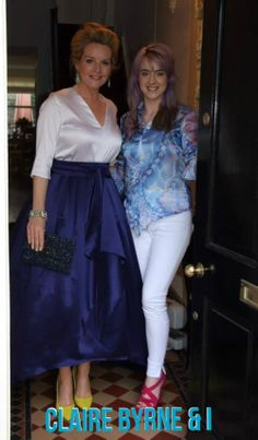 Dublin designer Louise Rawlins with RTE presenter, Claire Byrne. Brilliant in blue. And don't you love the shoes? Color Trends, Dublin, Claire, Street Wear, Couture, Celebrities, Blue, Inspiration, Shoes