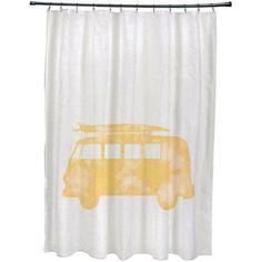 Simply Daisy 71 inch x 74 inch BeachDrive Geometric Print Shower Curtain, Yellow