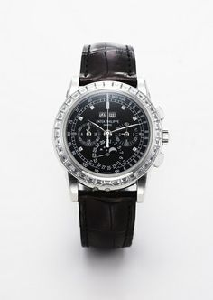 Patek Philippe Ref. 5971P offered in Antiquorum's February 22nd Hong Kong auction Platinum and baguette diamond-set bezel wristwatch with chronograph, perpetual calendar, moon phases, 24 hour indication Estimate:  HKD 1,600,000 - 2,400,000