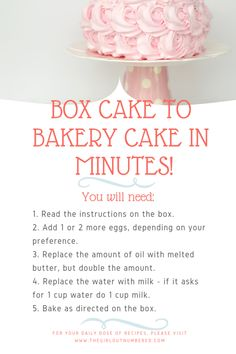 Convert Box Cake Mix to a Bakery Cake In Minutes! - The Girl Outnumbered Desserts Cake Mix Desserts, Cake Mix Recipes, No Bake Desserts, Dessert Recipes, Bakery Style Cake, Bakery Cakes, Cake Mixes, Box Cake Mix, Dense Cake Recipe