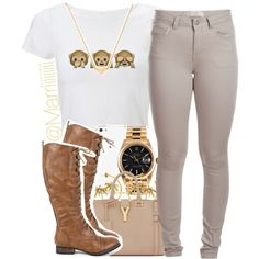 A fashion look from August 2014 featuring Pieces leggings, Breckelle's boots and Yves Saint Laurent handbags. Browse and shop related looks.