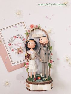 Groom & Bride Dolls - Handcrafted by me * Main material: ironwood, fabric, paint, color paper. * Size: diameter of base-10cm / high-21cm. #Thetrademark #wedding #caketopper #wooddoll #doll #custom #gateflower #bride #groom #handcraft