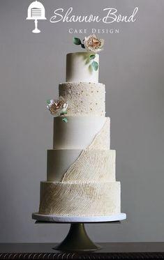 Golden Buttercream Wedding Cake by Shannon Bond Cake Design - http://cakesdecor.com/cakes/248048-golden-buttercream-wedding-cake