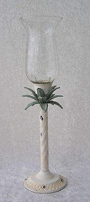 Metal Tropical Decor Palm Tree Glass Hurricane Taper Candle Holder