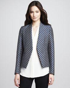Theory Lanai Open Jacquard Blazer & Hylin Sleeveless Silk Blouse