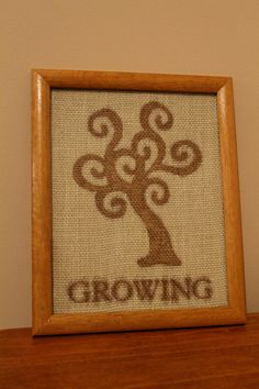 Burlap Picture Frame GROWING by SarahKCreations on Etsy, $8.00