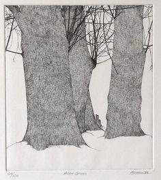 """Art Hansen: """"Alder Grove"""" -- Etching, 9 x 10 inches, edition of 100, 1976"""