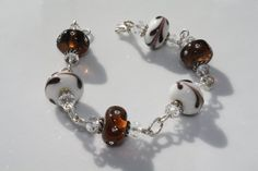 Brown and White Lampwork Glass Bracelet