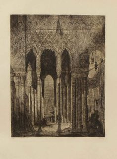 Marius Bauer No.. 67 (The Hague 1867-1932 Amsterdam), etching on paper, 47x57cm Oriental temple with figures. Cond.: G