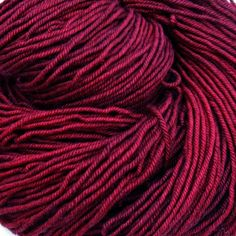 Dragonfly Fibers ruby worsted BFL