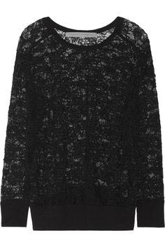 Raquel Allegra|Stretch-lace sweatshirt|NET-A-PORTER.COM (chic sweatshirt trend) #fallfashion