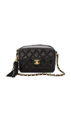 4a5a60065570 WGACA Vintage Vintage Chanel Small Camera Tassel Bag Quilted Leather,  Leather Tassel, Vintage Handbags