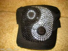 BLaCk CADET HAT/CAP★BLiNg CRYSTAL RHINESTONE Large Ying-Yang★NWT