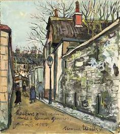Maurice Utrillo Thatched House, Rue Saint Vincent In Montmartre oil painting reproductions for sale Amedeo Modigliani, Marc Chagall, Paris 1920s, Maurice Utrillo, Thatched House, Saint Vincent, Oil Painting Reproductions, Minimalist Art, French Artists