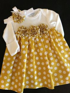 Mustard PolkaDot Onesie Dress size newborn by HaleyLaine on Etsy Baby Outfits, Kids Outfits, Onesie Dress, Baby Dress, Baby Onesie, Baby Sewing Projects, Sewing For Kids, Little Girl Dresses, Girls Dresses