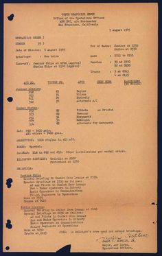 Op Order for the Enola Gay to strike by dropping the atomic bomb (Little Boy) on Hiroshima, Japan on August 6, 1945.