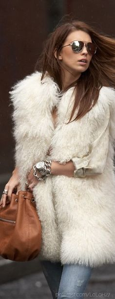Michael Kors mongolian fur vest- Need a faux fur jacket like this in my life Fur Fashion, Look Fashion, Runway Fashion, Womens Fashion, Street Fashion, Mode Style, Style Me, Mode Outfits, Casual Outfits