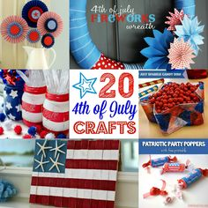Fourth of July DIY Crafts {Round-Up} Lots of simple craft ideas for Fourth of July and Memorial Day celebrations!